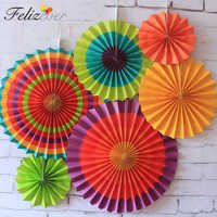 One Set Colorful Paper Fans Round Wheel Disc Birthday Kids Party Christmas Decoration Event Kindergarten Celebration Wall Decor