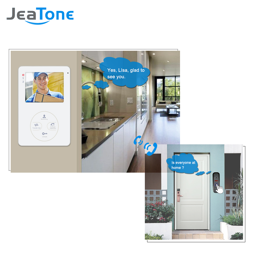 "Купить с кэшбэком Jeatone  4"" 1200TVL HD  Audio Door Phone Wired Video Home Intercom System Security Can Link CCD Camera Release Unlock"