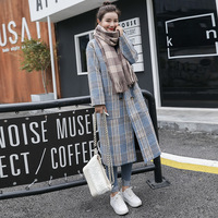 Office Lady Slim plaid Women Long Winter Wool Blend Coat Turn down Collar Wool Coat and Jacket Double Breasted Outerwear