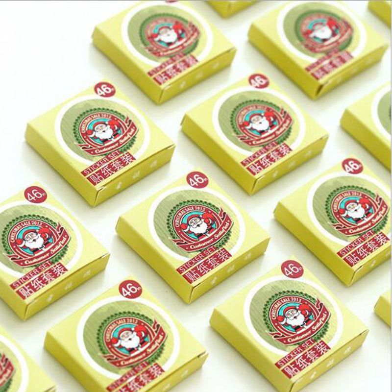 Купить с кэшбэком Creative Christmas Theme Paper Sticker Decoration DIY Diary Scrapbooking Planner Gift Packing Seal Kawaii Stationery 46pcs/box