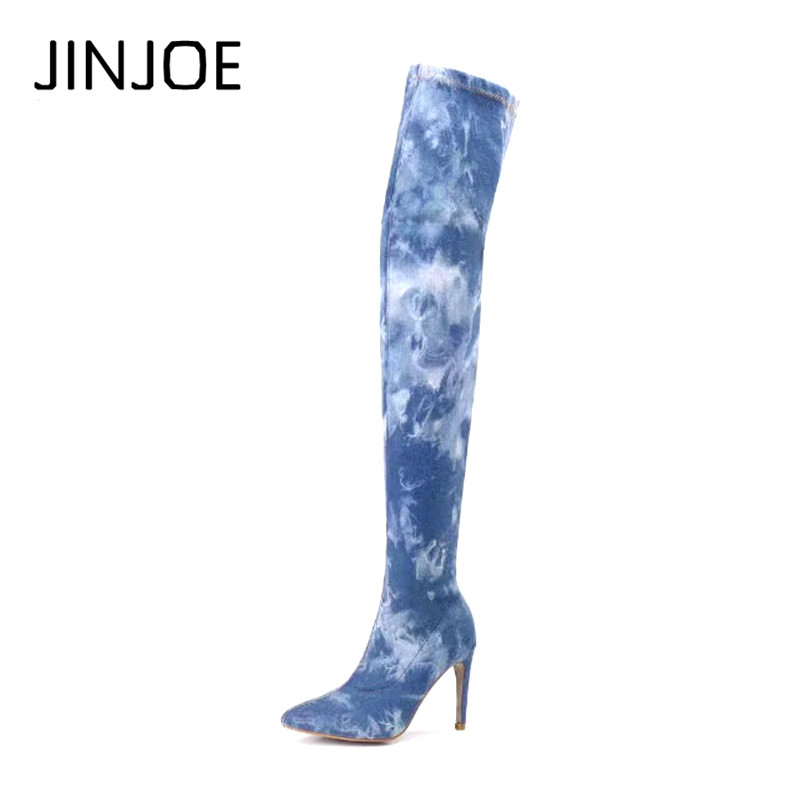 Europe and America Favourite Simple fashion sexy Pointed Toe Elastic force Denim Overknee Boots Large size Womens Boots 36---42