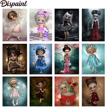 Dispaint Full Square/Round Drill 5D DIY Diamond Painting Cartoon Kimono girl 3D Embroidery Cross Stitch 5D Home Decor Gift dispaint full square round drill 5d diy diamond painting mandala scenery 3d embroidery cross stitch 5d home decor a10820