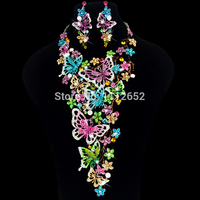 Luxury Bridal Jewelry Sets Gorgeous Multi color Butterfly Rhinestones Necklace Earrings for Brides Wedding Costume Accessories