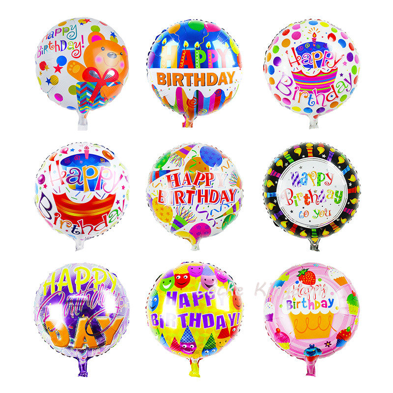 Lucky 10pcs/lot 18inch Foil Round Balloons Happy Birthday