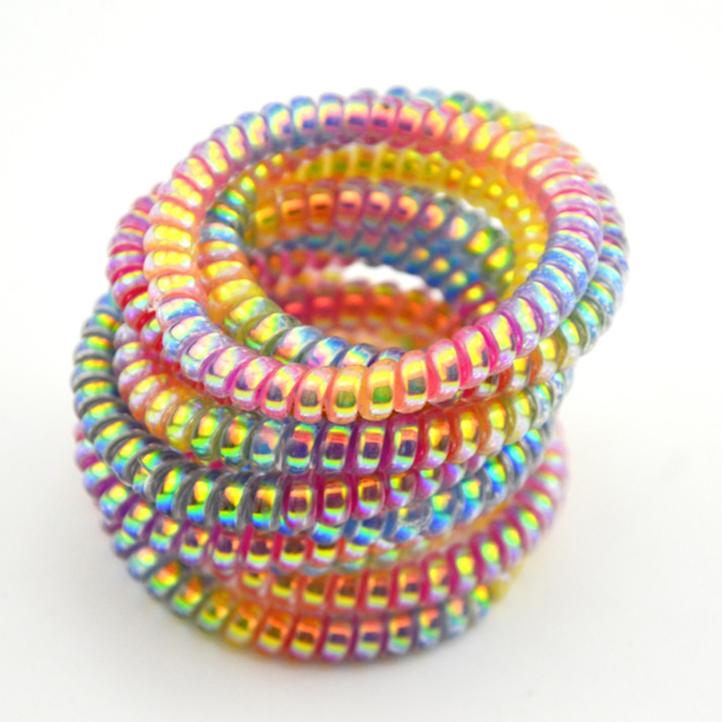 5cm Lot 10 Pcs Colorful Elastic Rubber Hairband Telephone Wire Hair Tie Rope Band Ponytail Hair Accessories