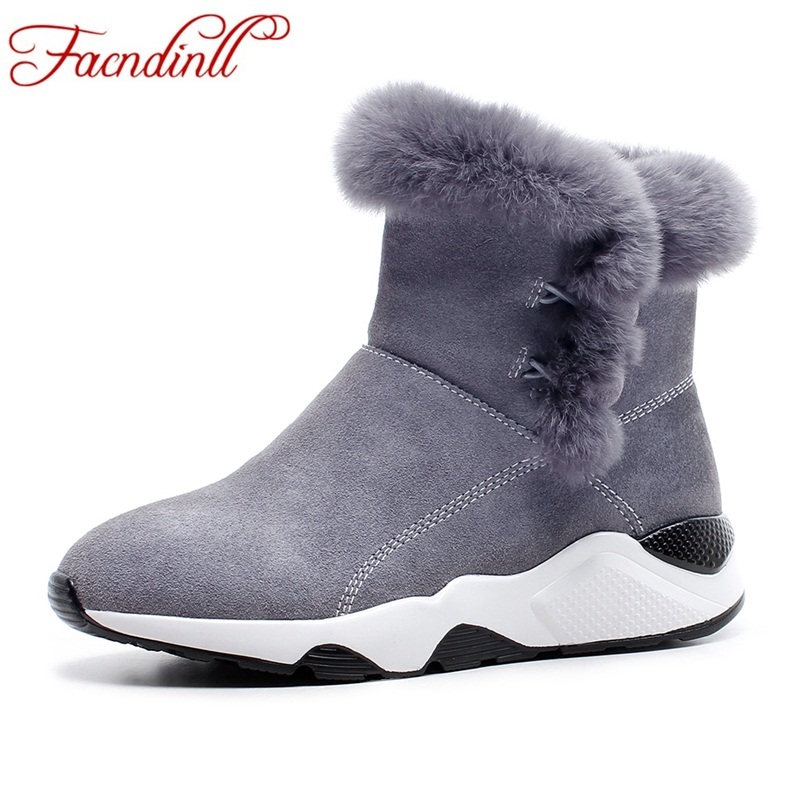 Фотография FACNDINLL women 2017 new fashion winter warm snow boots shoes wedges heels round toe platform shoes woman casual ankle boots
