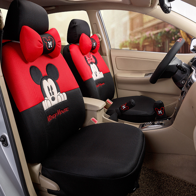 Car Styling Red Black Beige Mickey Minnie Mouse Seat Covers Accessories For Seats