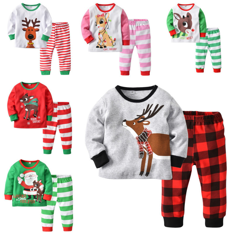 цена на 2018 Kids clothes Christmas set Baby boys girls Cotton sets Santa Claus Deer Pajama set Long sleeve t-shirt+pants Children suit