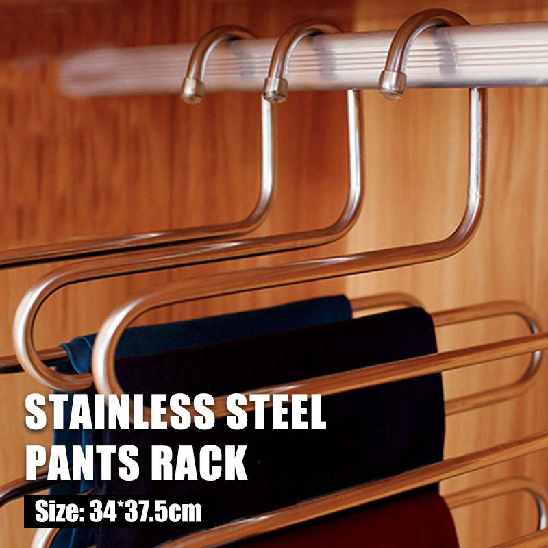 5-layer Pants Rack Shelf Multifunctional Stainless Steel S-Type Tools Belt Clothes Coat Hanger Non-slip Storage Rack Wardrobe