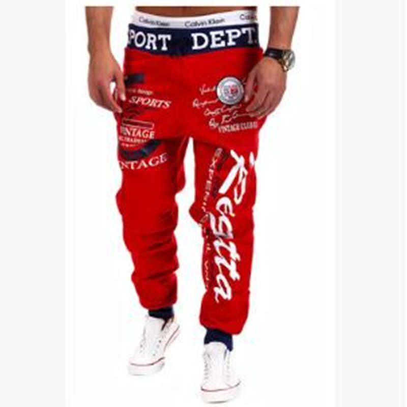 Running-Pants Trend Jogging Personality New-Fashion Drawstring Men's Large-Size Letters-Printing