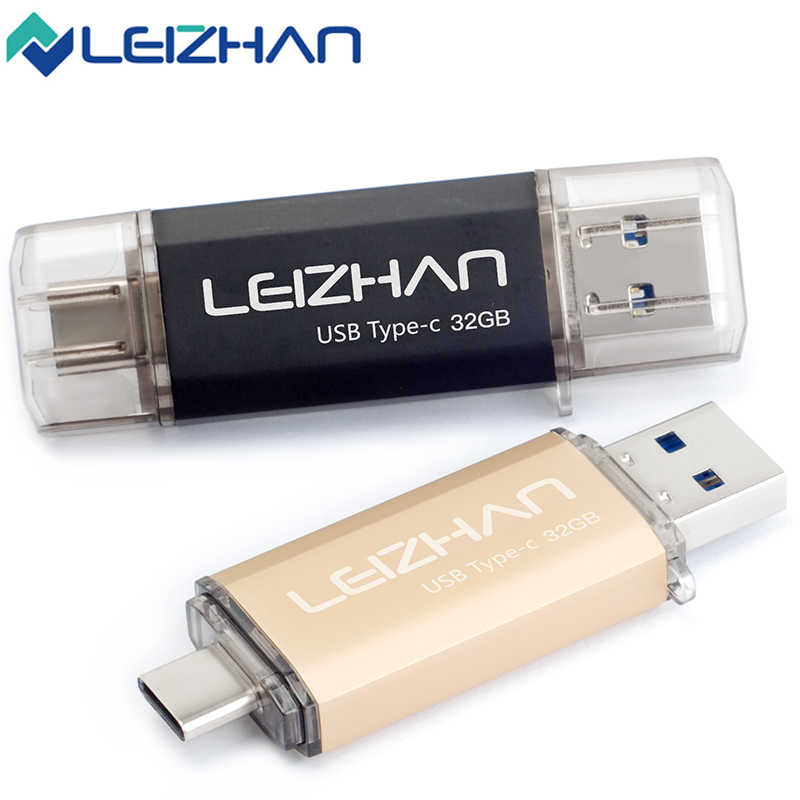 LEIZHAN Type-C USB Flash Drive 16GB 32GB 64GB 128GB OTG 3.0 USB Stick Full Capacity Pendrive Pen Drive USB C Memory Stick