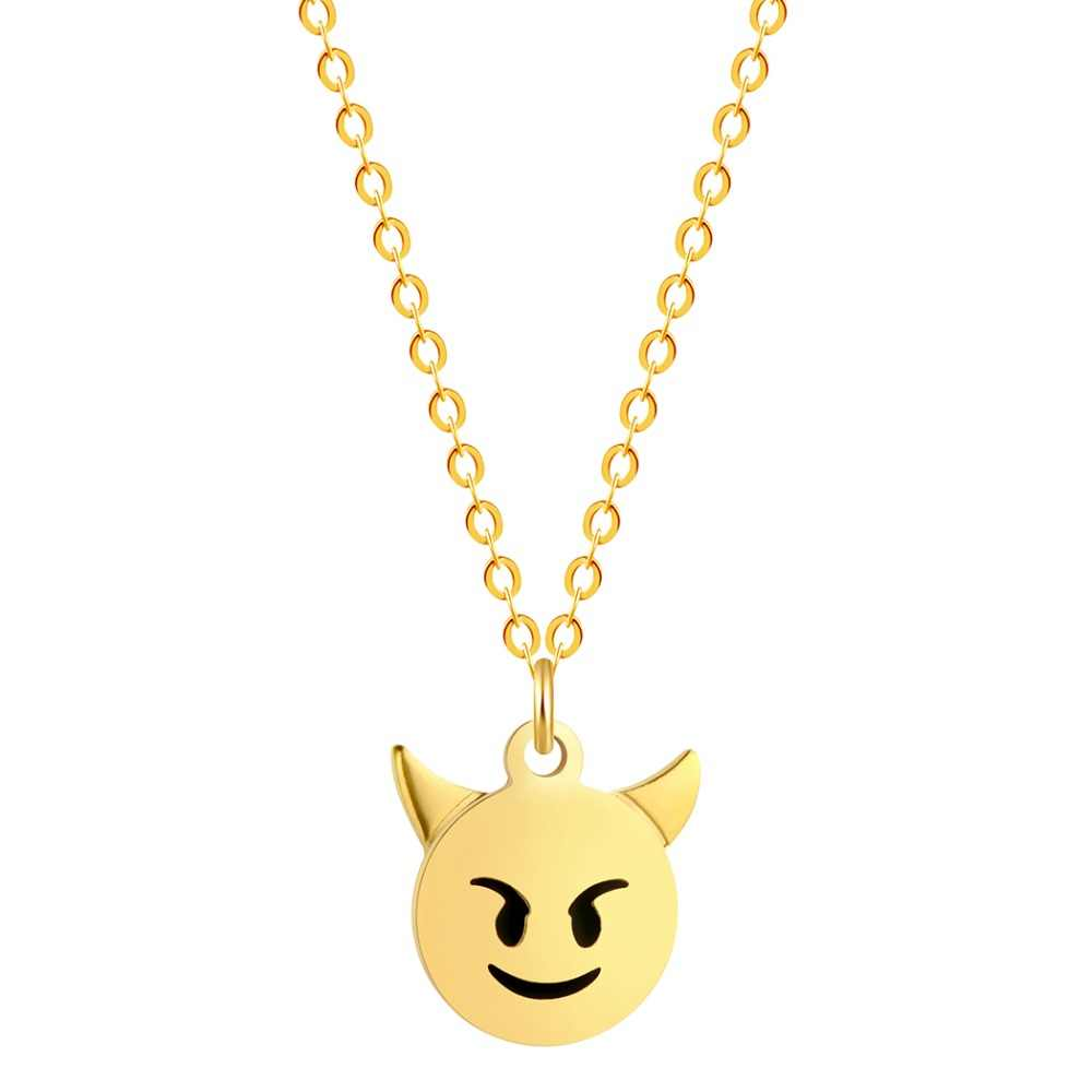 Todorova Tiny Sheep Dog Squirrel Devil Pendant Necklace Emoji Emoticon Women Men Jewelry Stainless Steel Necklace