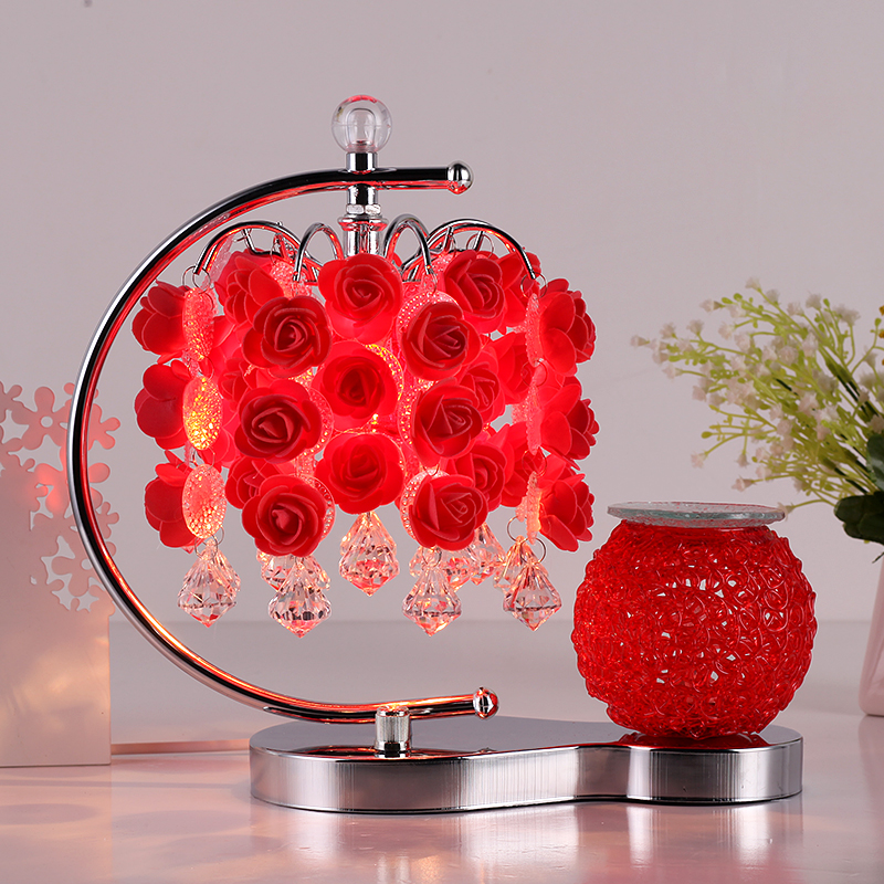 aromatherapy table lamp Bedroom bedside lamp rose red wedding wedding room warm  plug creative European dimming ZH crystal lamp bedroom bedside lamp decoration lamp european creative wedding marriage room warm rose wedding gift table lamp