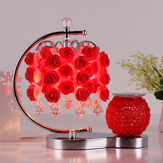 Aromatherapy Table Lamp Bedroom Bedside Lamp Rose Red Wedding - Red table lamps for bedroom