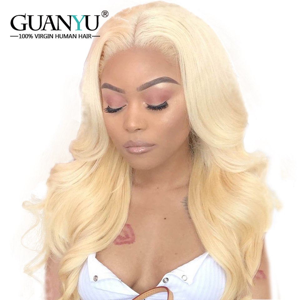 Guanyuhair #613 Blonde Full Lace Wigs Indian Remy Human Hair Body Wave Pre-plucked  Glueless 150% Density With Baby Hair