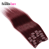 Fashion Lady Pre Colored Brazilian Straight Hair Clip In Human Hair Extensions 9pcs Set Extensions With 17pcs Clips Non Remy