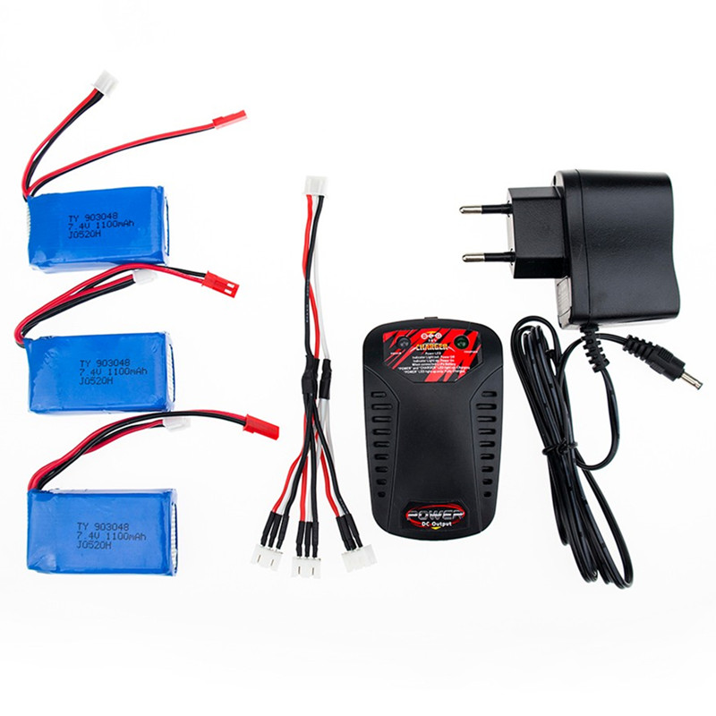 7.4V 1100mAH jst plug Lipo battery with Charger and cable For Wltoys A949 A959 A969 A979 K929 1/18 rc helicopter toy battery