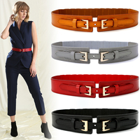 1PC Fashion Elegant Women Lady Spring Metallic Color Soft cowskin Leather Wide Belt Self Tie Wrap Around Waist Band for Dress