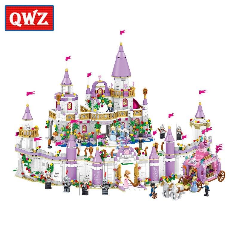 QWZ Romantic Castle Princess Friend Girl Building Blocks Bricks For Children Sets Educational Toys Compatible Legoings Friends