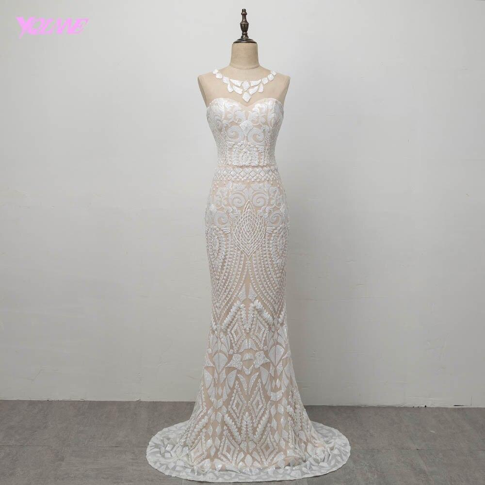 YQLNNE 2018 Gorgeous Sequins   Prom     Dresses   Long Mermaid Evening Gown Vestido De Festa