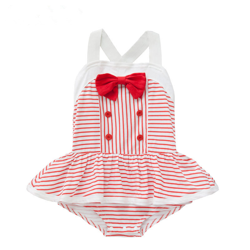 Newborn baby dress girl clothing 2015 new brand striped lace baby rompers infant ruffle princess coveralls baby clothes