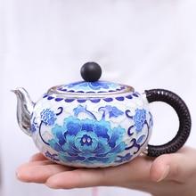 Peony Blossom Pure Handmade Silver Teapot 999 Fetus Enamel Cloisonne