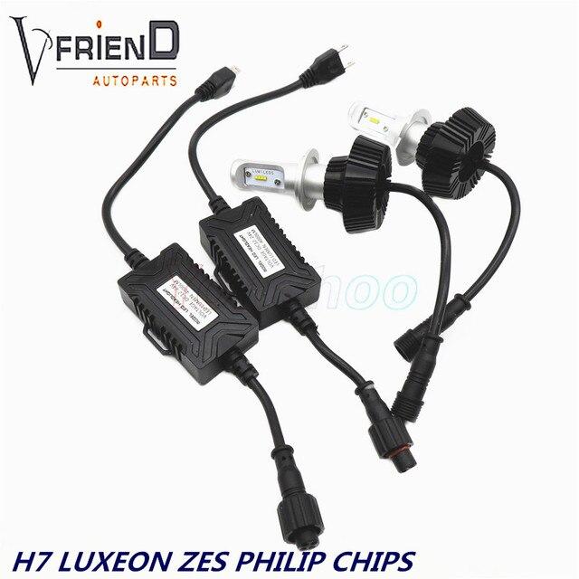 1 Par de Faros Kit PhiIip Chip de LUMILEDS LUXEON ZES H1 H3 H7 H11 9005 9006 H4 Bombilla LED de Automóviles faro Impermeable