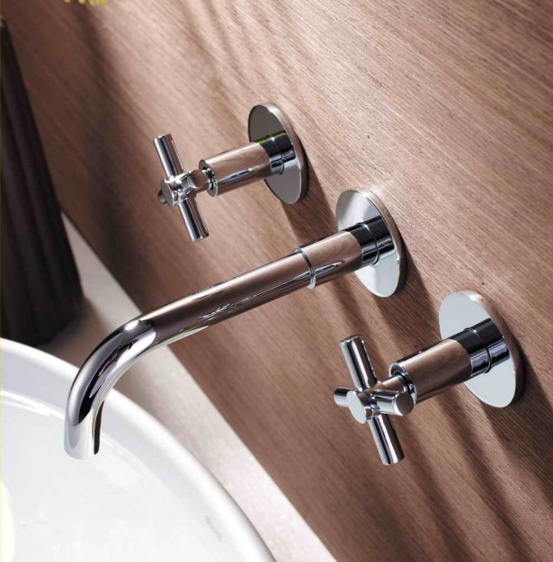 Best selling 8 widespread dual handle wall mounted basin mixer