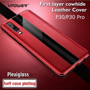 Image 5 - Para Huawei P30 Pro Caso De Couro Vpower Luxo Anti batida Couro Genuíno Telefone Chapeamento de Volta Caso Para Huawei P30 /P30 Capas Pro