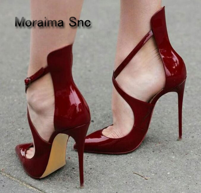 Moraima Snc Brand stiletto shoes <font><b>12</b></font> <font><b>CM</b></font> high heels <font><b>sandals</b></font> summer red black Patent leather pumps high quality sandalias mujer image
