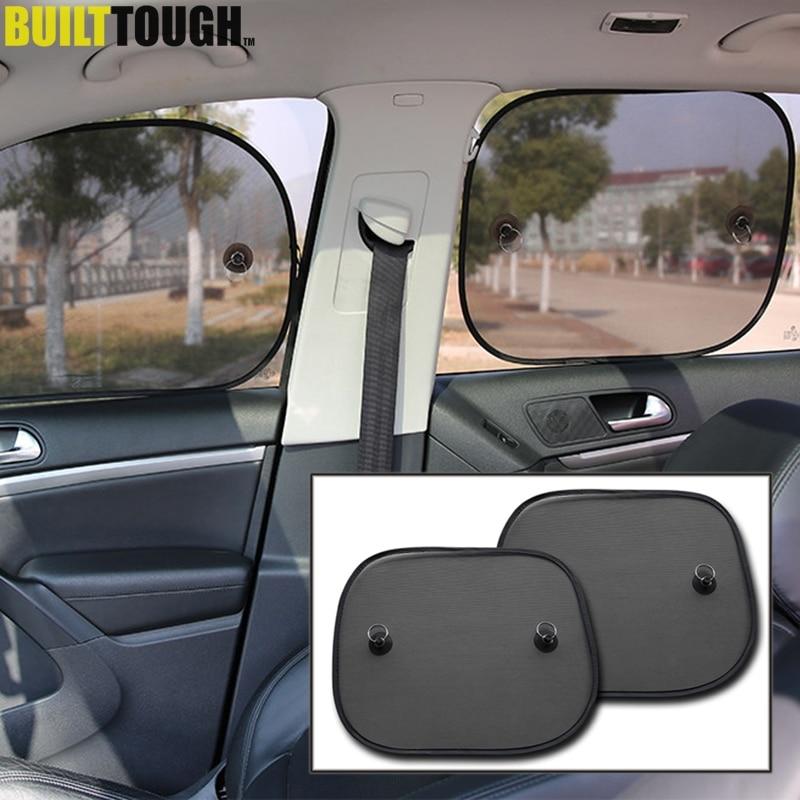 Super Quality 2pcs Black Side Car Sun Shades Rear Window Sunshades Cover Mesh Visor Shield Screen Interior UV Protection Kids