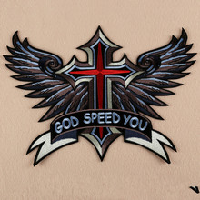 Embroidered Iron On Patches 1pcs Large Punk God Speed You Cross Wing Badge Biker Patches For jacket Clothing