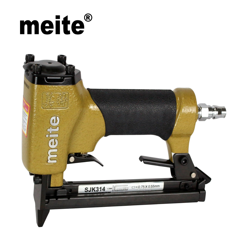 Meite SJK314  4-14mm fine wire pneumatic staple nailer gun stapler for furniture, car seat ,picture frame Feb.26 Update Tool meite stapler 71 series 3 8 crown fine wire furniture staples 1 4 to 5 8 mt7116