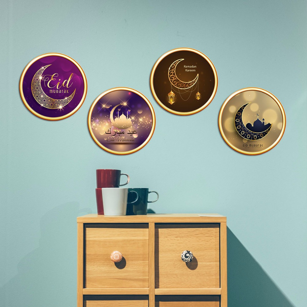 New simulation 3D decorative painting PVC removable waterproof DIY sticker TV backdrop creative Muslim wallpaper Home Decoration in Wall Stickers from Home Garden