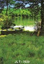 Zielone drzewo jezioro łodzi ślub dzieci Vinyl tło dla Photo rekwizyty studyjne dziecka teł do fotografii