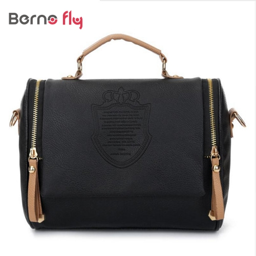 2017 New Arrival women cross body bag Barrel-shaped PU women shoulder bag Messenger Bags ladies solid Zipper handbags