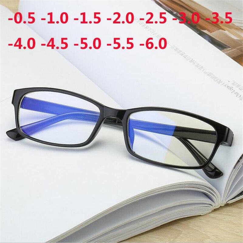 Schnelle Lieferung Anti-blu-ray Rezept Kurzsichtig Gläser Frauen Männer Marke Desginer Anti-müdigkeit Fertig Myopie Gläser-0,5-1,0 Zu-6,0 üBereinstimmung In Farbe Herren-brillen