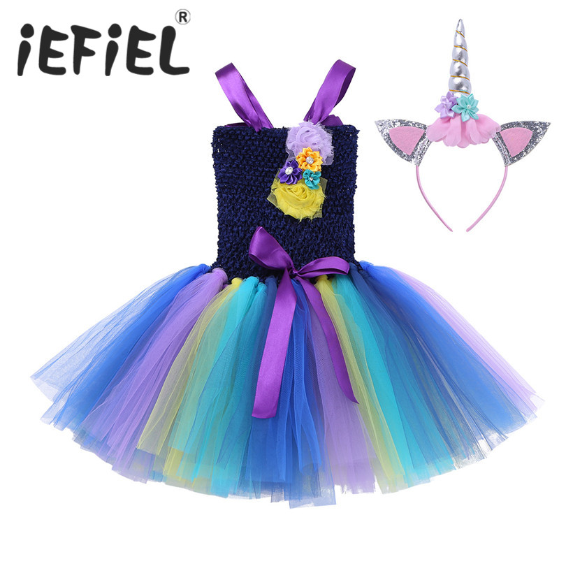 iEFiEL Girls' Cosplay Dance Dress with Headband Halloween Christmas Cosplay Costume Kids Summer Fancy Party Princess Tutu Dress
