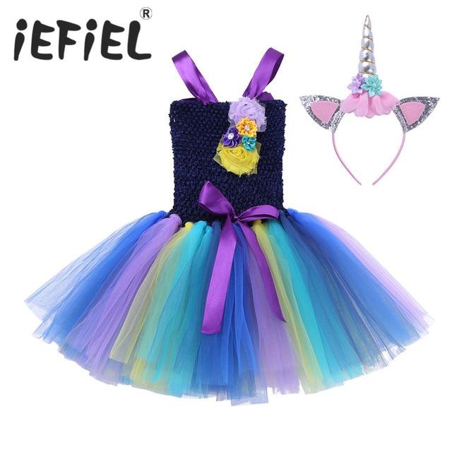 0a4372108 iEFiEL Girls  Cosplay Dance Dress with Headband Halloween Christmas ...
