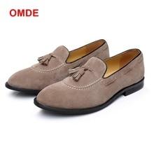 OMDE New Arrival Suede Loafers Original Design Handmade Tassel Mens Dress Shoes Plus Size Driving Slip-on Man Boat