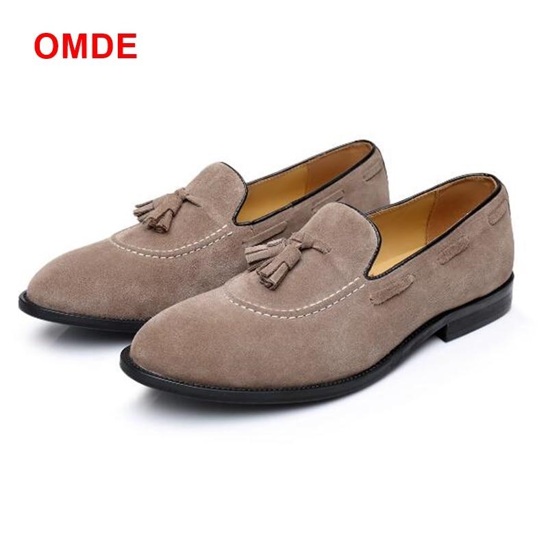 все цены на OMDE New Arrival Suede Men Loafers Original Design Handmade Mens Dress Shoes Plus Size Tassel Slippers Slip-on Man Boat Shoes