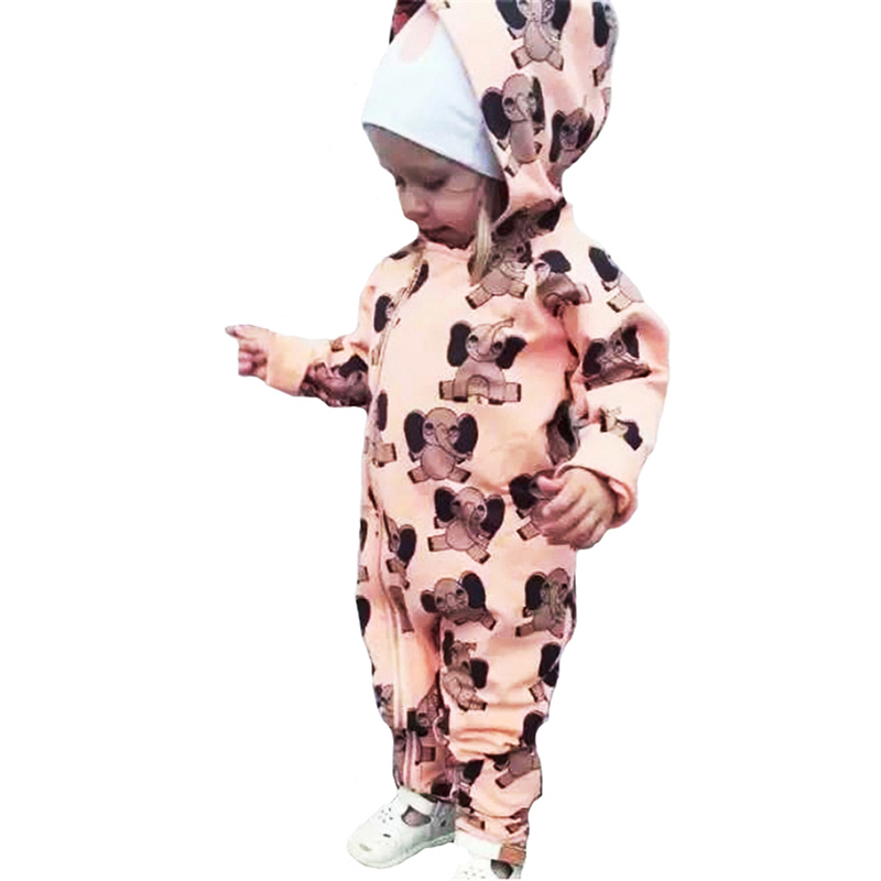 2017 Winter KIKIKIDS Girl Baby Romper Cartoon Elephant Pattern Toddler Hooded Jumpsuit Fashion Newborn Boy Girl Clothes Romper puseky 2017 infant romper baby boys girls jumpsuit newborn bebe clothing hooded toddler baby clothes cute panda romper costumes