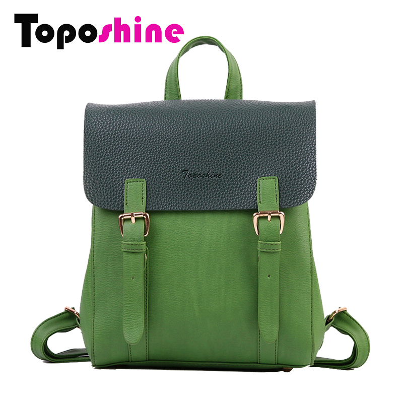 Toposhine New Design Female Backpacks Fashion Square Girls Backpack PU Leather Solid Women Backpack Lady Fashion School Bags1704