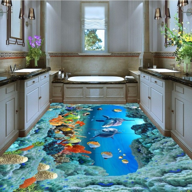 Free Shipping Beautiful Seaview Underwater World Coral Starfish 3D on bathroom under the sea, bathroom art underwater, bedroom underwater, living room underwater,