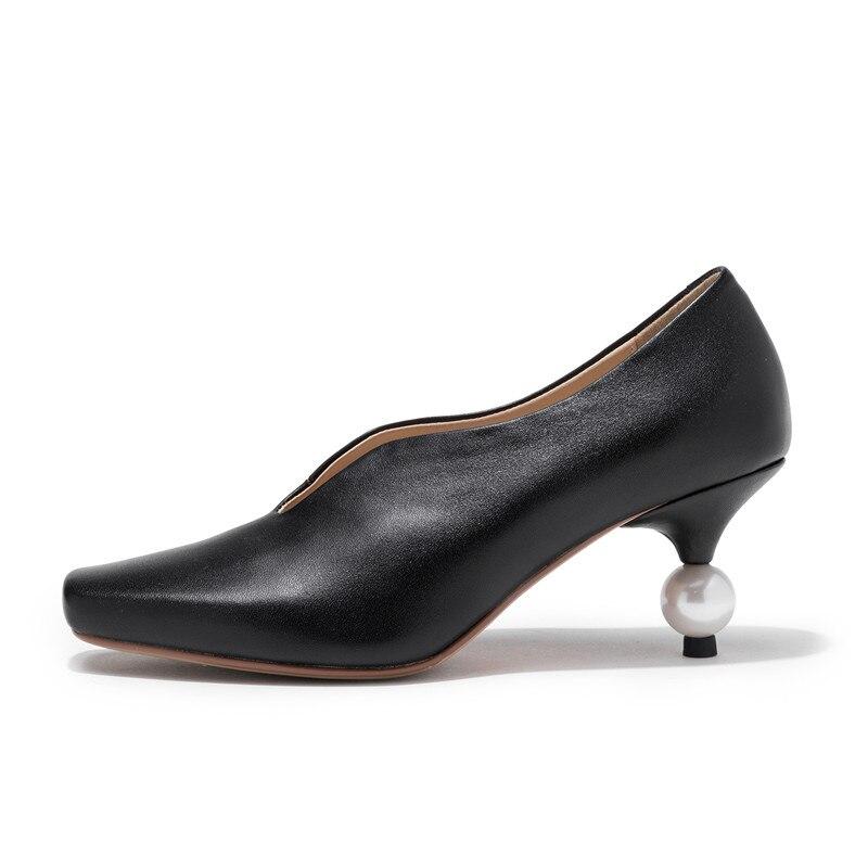 Qualité Véritable Robe Bout Summer Memunia Haute 2019 Beige Femme noir Hauts Talons Mode Femmes Carré Chaussures En Cuir Party Pompes XxRBERqa