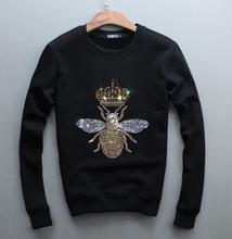 Top qualität lange männer rundhals sweatershirt verdickte Koreanische heiße bohren schlank hoodies freizeit design 2017 neue