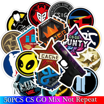 50 PCS Pack CS GO Game Stickers Set For Boys Luggage Skateboard Laptop Mac Teem Waterproof Stickers image