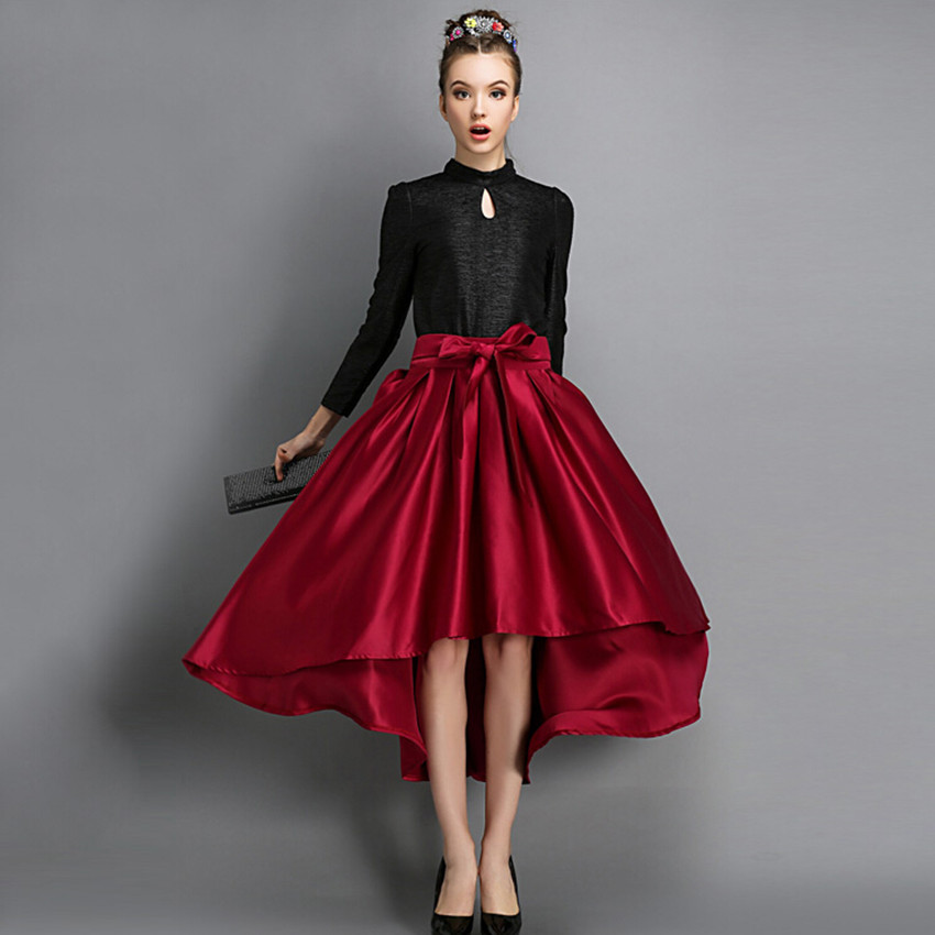 fashion trend high low skirt wine pleated skirts