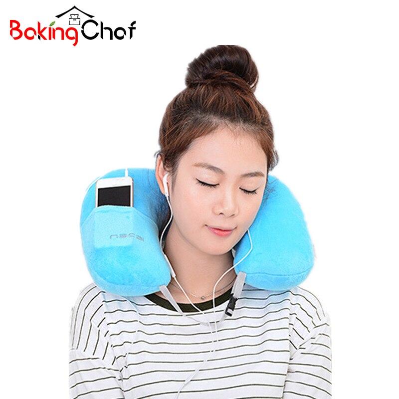 BAKINGCHEF U-Shape Inflatable pillow Portable Flannel travel neck pillow Home Garden Textile Item Stuff Accessories Supplies Lot