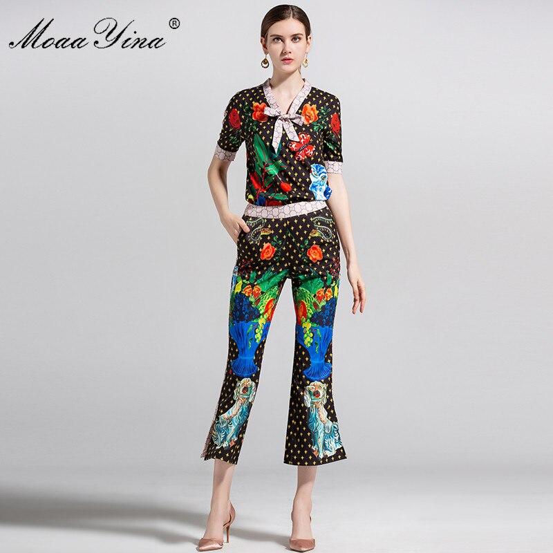 MoaaYina créateur de mode piste ensemble été femmes à manches courtes Fruit étoile imprimé Floral élégant hauts + 3/4 pantalons évasés ensemble